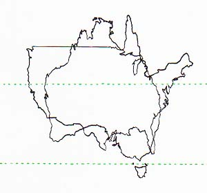 map comparing size and position of Australia and USA